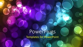 PPT theme with abstract glowing colorful circles on a dark background