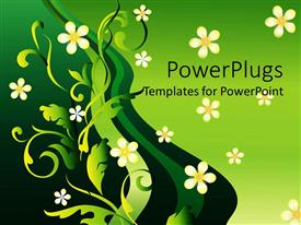 Beautiful PPT theme with abstract green background with yellow flowers