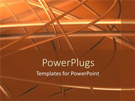 Presentation having abstract metal works on orange background