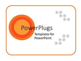 Colorful presentation having abstract orange and gray circles on white background