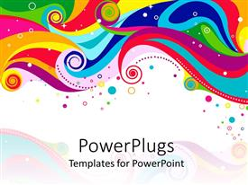 Elegant slides enhanced with abstract rainbow colored waves, circles and dots on white background