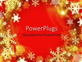 Colorful PPT layouts having abstract red Christmas background with many snowflakes