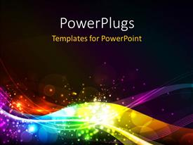 PPT theme having abstract shiny colorful waves with bokeh effect over black background