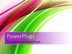 Elegant PPT theme enhanced with abstract shiny green and magenta color curves, with white color