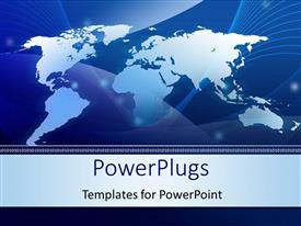 PPT theme consisting of abstract World map technology blue background