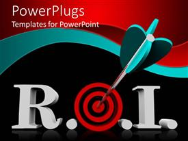 PPT theme enhanced with acronym R.O.I. for return of investment with red target instead of o letter and dart in bullseye