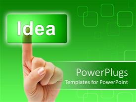 Amazing presentation theme consisting of adult finger clicking on a transparent  green idea tab