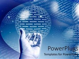 PPT theme having adult hand holding a spherical globe on a bluish hue background