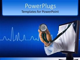 Presentation theme with adult hand out of a laptop with a stethoscope