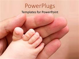 Colorful presentation theme having an adult hand and touching a baby's feet