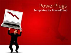 Presentation theme having adult male holding a large laptop with an arrow symbol