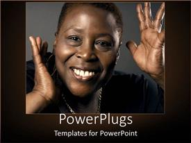 Audience pleasing slides featuring african-American woman with a smile on grey background