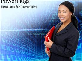 PPT layouts featuring african American business women with red folder in hand looking happy