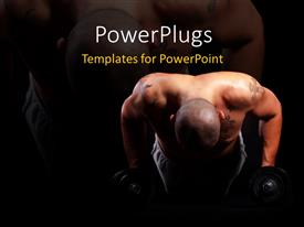 Presentation theme having an African American man working out on a black background