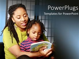 Beautiful PPT theme with african American mother with kid on her laps reading story book