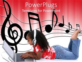 Slide deck consisting of afro haired little girl sitting on the floor with open laptop and headphones and music notes on sheet on white and red background