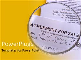 Theme with agreement for sale under magnifying glass, contract, real estate, yellow border