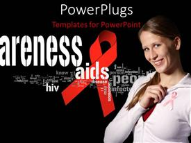 Colorful slides having aIDS awareness flyer with awareness terms and girl using pink ribbon