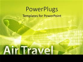 Elegant presentation theme enhanced with air travel depiction with silhouette of airplane on world map