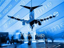 Presentation theme having airplane approaching airport with arrival board and travellers with suitcases