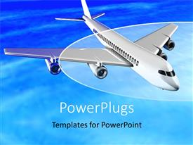 Elegant PPT theme enhanced with an airplane flying in the air