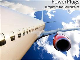 PPT theme with airplane with red engine flying in blue cloudy sky