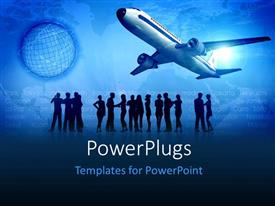 Audience pleasing slides featuring airplane taking off with silhouette of people discussing in background
