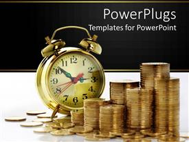 Colorful theme having alarm clock with lots of stacks of gold coins