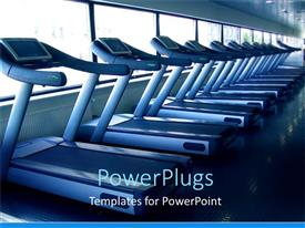 Slide set enhanced with aligned running bands in a fitness center with windows