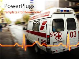 PPT theme consisting of an ambulance with a heartbeat line and place for text