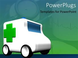 PPT theme having an ambulance travelling with greenish background