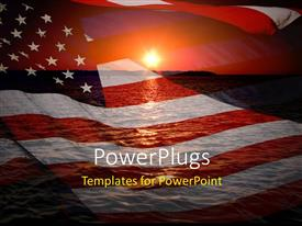 Elegant PPT theme enhanced with america patriotic concept with sunrise over ocean