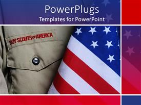 Elegant presentation enhanced with an american boy scouts outfit along with an American flag