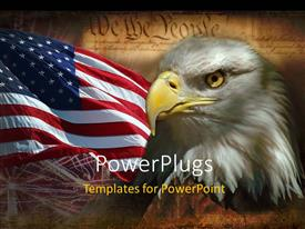 PPT theme having american Eagle with the American flag over the United States constitution