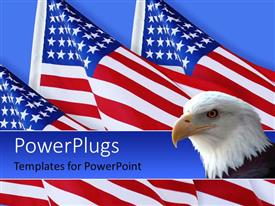Amazing PPT theme consisting of american eagle with three American flags on blue background