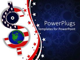 Presentation design consisting of american economy metaphor with red, white and blue flag dollar sign, earth, blue gear background
