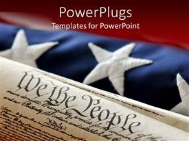 Amazing slides consisting of an American flag in the background while the constitution in the front