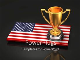 Presentation theme with an American flag with a cup and blackish background