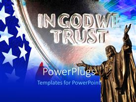 PPT theme enhanced with american flag with IN GOD WE TRUST motto etched in stone