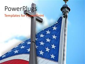 Slide deck having an American flag with a holy cross
