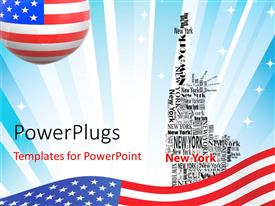 Presentation design having american flag over abstract background with New York forming Statue of Liberty