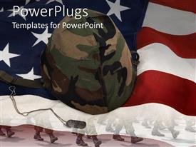 Presentation theme enhanced with an American flag with a soldier's helmet