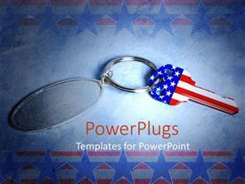 Theme consisting of an American key with American flag in the background