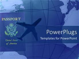 PPT theme having american passport with shadow of airplane in blue background