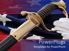 Elegant slides enhanced with an american soldier's sword with flag in the background