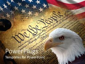 Slide deck enhanced with american symbols with American flag, eagle head and old historical documents