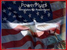 Presentation consisting of american symbols with waving flag of United States and Statue of Liberty