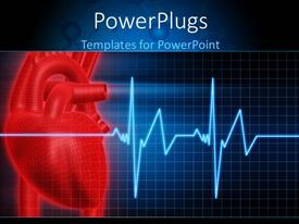 Presentation featuring anatomy depiction of a human red heart and ECG graph over blue background
