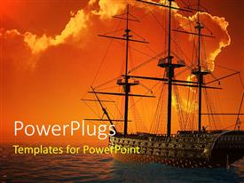 5000 ancient war powerpoint templates w ancient war themed backgrounds elegant ppt theme enhanced with a ship sailing in the sea with clouds in background toneelgroepblik