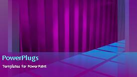 Presentation theme consisting of animated background of blue squares on floor with purple curtain folds - widescreen format
